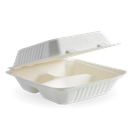 7.8X8X3 3 COMPARTMENT BIOCANE WHITE CLAMSHELL